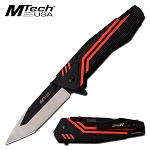 Tanto Blade Spring Assisted Pocket Knife Black Red Aluminum Handle
