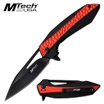 Spring Assisted Opening Pocket Knife Two Tone Black Red Handle