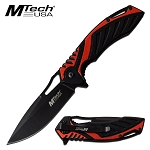 Spring Assisted Opening Pocket Knife Black Red Two Tone Aluminum Handle