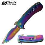 Spring Assisted Opening Pocket Knife Bottle Opener on Blade Rainbow