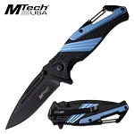 Spring Assisted EDC Pocket Knife Bottle Opener Carabiner Blue