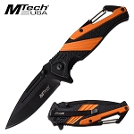 Spring Assisted EDC Pocket Knife Bottle Opener Carabiner Orange