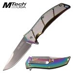 Mtech Knife Spring Assisted Knife Stainless Steel Rainbow Handle