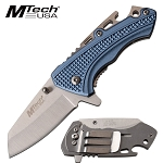 Spring Assisted Pocket Knife Bottle Opener Aluminum Handle Blue