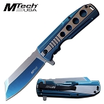 Mtech Pocket Knife Spring Assisted Knife Polished Blue Stainless Steel Knife