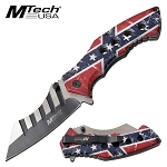 Mtech Cleaver Knife Spring Assisted Knife Confederate Flag