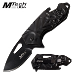 Mtech Bottle Opener Handle Spring Assisted Pocket Knife Black