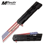 Mtech USA Flag Blade Spring Assisted Pocket Knife Black Handle