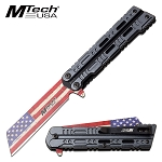 Mtech USA Flag Blade Spring Assisted Pocket Knife Blue Handle