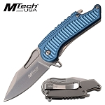 Mtech Spring Assisted Knife Blue Handle with Bottle Opener
