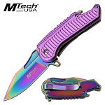 Mtech Spring Assisted Knife Purple Handle with Bottle Opener