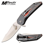 Mtech Spring Assisted Knife Gray Shark Handle Bomber Lady Luck Blade
