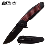 Mtech Pocket Knife Black Red Handle Spring Assisted Knife