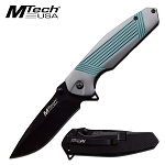 Mtech Pocket Knife Gray Turquoise Handle Spring Assisted Knife