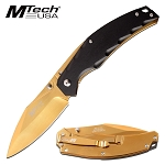 8.5 Inch Pocket Knife Gold Blade Spring Assisted Knife