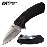 Mtech 6.6 Inch Spring Assisted Knife Black Pakkawood Pocket Knife