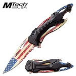 Mtech USA Flag Spring Assisted Knife Bottle Opener Pocket Knife