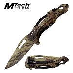 Mtech Pocket Knife Bottle Opener Spring Assisted Knife Camo