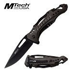 Mtech Pocket Knife Bottle Opener Spring Assisted Knife Carbon Fiber Handle