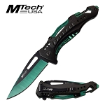 Mtech Pocket Knife Bottle Opener Spring Assisted Knife Green Blade