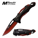 Mtech Pocket Knife Bottle Opener Spring Assisted Knife Red Blade