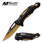 Mtech Pocket Knife Bottle Opener Spring Assisted Knife Yellow Blade