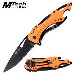 Mtech Spring Assisted Knife Bottle Opener Neon Orange