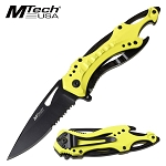 Mtech Spring Assisted Knife Bottle Opener Neon Yellow