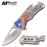 Silver American Flag Pocket Knife Bottle Opener Spring Assisted Knife
