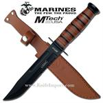 12 Inch Official US Marine Combat Knife with Leather Handle & Sheath