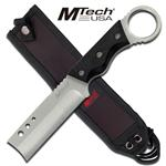 8 Inch Mtech Fixed Blade Razor Knife with Black Handle - Silver Finger Ring