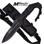 Mtech USA Fixed Blade Knuckle Handle Tactical Knife - Black Handle Drop Point Blade