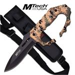 Mtech USA Fixed Blade Knuckle Handle Tactical Knife - Military Camo Handle