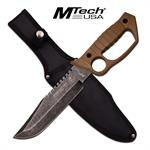 MTech USA Midnight Ops Knuckle Handle Fixed Blade Knife Desert Tan Handle