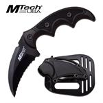 Mtech USA Fixed Blade Karambit Style Tactical Knife - Black Serrated Blade