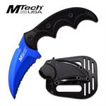 Mtech USA Fixed Blade Karambit Style Tactical Knife - Blue Serrated Blade