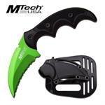 Mtech USA Fixed Blade Karambit Style Tactical Knife - Green Serrated Blade