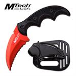 Mtech USA Fixed Blade Karambit Style Tactical Knife - Red Serrated Blade
