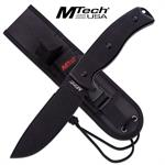 MTech USA Fixed Blade Survival Knife Black G10 Handle