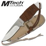 7.75 Inch Boot Knife with Tan Leather Cord Wrapped Handle with Sheath