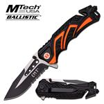 Mtech USA Ballistic Rescue Spring Assisted Tactical Knife - EMT Black Orange