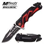 Mtech USA Ballistic Rescue Spring Assisted Tactical Knife - Fire Fighter Black Red