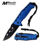 MTech USA 4.5 Inch Closed Spring Assisted Knife Blue Anodized Handle