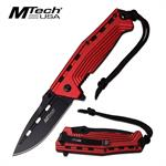 MTech USA 4.5 Inch Closed Spring Assisted Knife Red Anodized Handle
