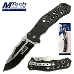 Mtech Pocket Knife Black Holes Handle Spring Assisted Knife
