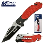 Mtech Pocket Knife Red Tactical Handle Spring Assisted Knife in Clamshell