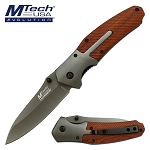 Mtech Spring Assisted Knife Wood and Stainless Steel Handle