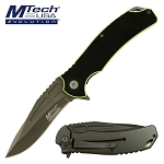 Mtech Pocket Knife Black Yellow Handle Spring Assisted Knife in Clamshell