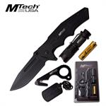 Mtech USA Folding Pocket Knife Outdoor Survival LED Light and Tools