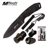 Mtech USA Fixed Blade Knife Outdoor Survival Tool Kit in Clam Shell Pack